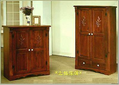ct10-3~上福家具~.彩绘.玫瑰.全原木.实木.座鞋柜.收纳柜.鞋柜.