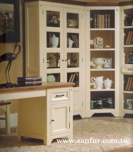 双色家具系列 双色全实木书柜+书桌; 0欧式实木家具定制/实木连体衣柜