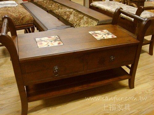 ct12-3上福家具~.彩绘玫瑰磁砖.西班牙瓷砖实木.座鞋柜.收纳柜.鞋柜.
