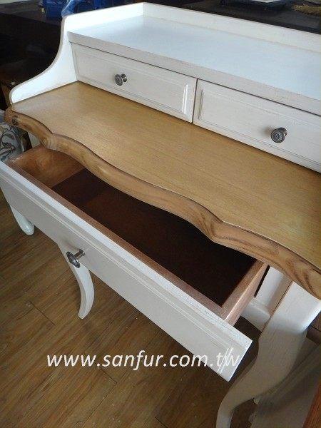 d001-1~水柳木欧式乡村白色展示柜.书桌.床头柜