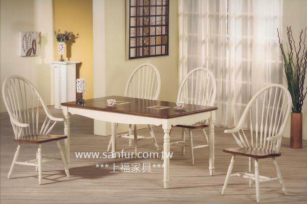 w004上福家具~100%原木温莎椅 实木刷白英式古典.餐椅.小扶手餐椅.