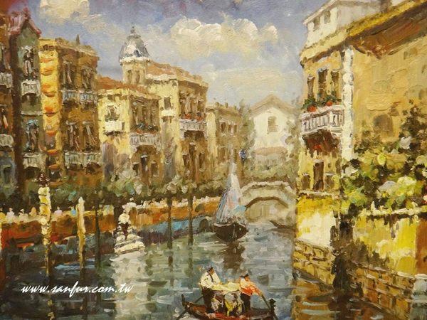 挂画.欧洲乡村风景画.地中海油画.层次丰富又分明 亲笔签名