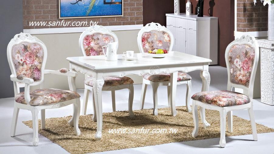 w-21台南上福家具~实木欧式4.3尺餐桌椅,白色艺术浮雕 .虎角大餐桌