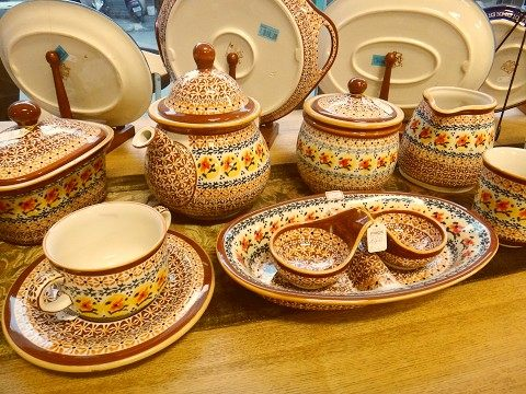 *上典家具~polish pottery波兰手绘陶盘. 心型大圆盘.手绘瓦陶制品.